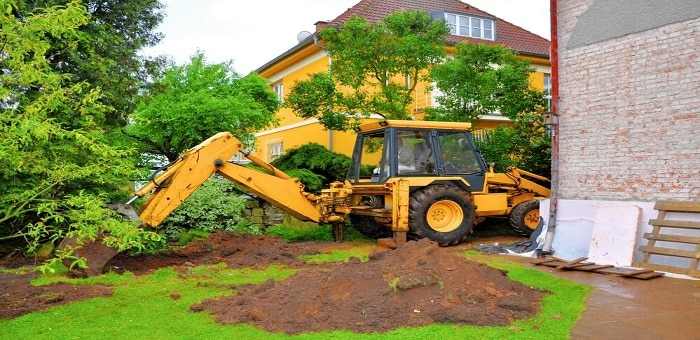 Yellow Digging excavator in New Orleans LA