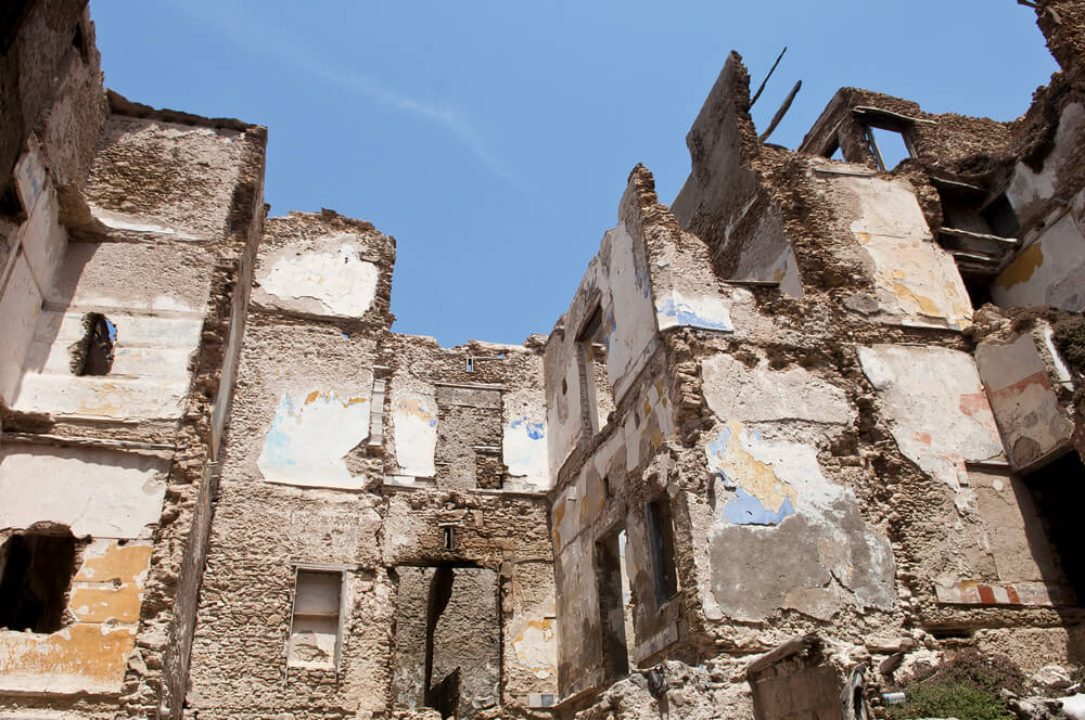 Concrete debris from demolition